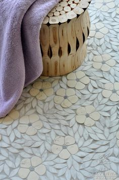 Beautiful mosaic tile flooring made by New Ravenna Mosaics.  From simplifiedbee.com