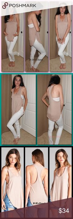 LOWEST PRICE Honey Punch Side Slit Tank The beloved Honey Punch brand sold at Urban Outfitters, Asos, PacSun, LuLus & various other top of the line stores. I am obsessed with this tank! Fits beautifully, and is so soft & comfy. ⭐️Rounded Elongated Neckline ⭐️Side Slits ⭐️Racerback ⭐️Gorgeous Taupe Color ⭐️Made in the USA ⭐️Paired with White Denim found in separate listing ⭐️97% Rayon/ 3% Spandex ⭐️I am 5'8-120 & wearing a small Trades/ PayPal or Mercari *️⃣Price Firm Unless Bundled  *️⃣(If…