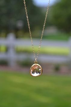 Peach Pendant Necklace $18 etsy