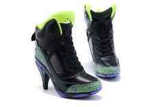 me/iGirlcoza - Air Jordan High Heels Black Green Nike High Heels, Black High Heels, Womens High Heels, Jordan Heels, Jordan Shoes For Women, Jordan 3, Nike Shoes For Sale, Purple Shoes, Sneaker Heels