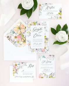 Watercolor Floral Wedding Invitation Suite Printed Pink