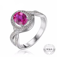 Classic 1.8ct Oval Created Pink Sapphire Ring, 925 Sterling Silver