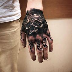 Tattoo Aleksandr Bondar - tattoo's photo In the style Black and grey, Male, Skul. Creepy Tattoos, Dope Tattoos, Badass Tattoos, Black Tattoos, Body Art Tattoos, Tribal Tattoos, Simple Hand Tattoos, Hand Tats, Hand Tattoos For Guys