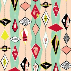 Im Seriously Considering Ordering Some Of This Fabric From Tuppence Hapenny For Our Kitchen Interior Cocktail Diamonds Light By Tuppencehapenny On