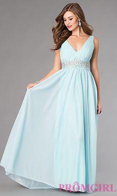 V-Neck Floor Length Sleeveless Dress at PromGirl.com