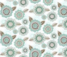 Henna Flowers fabric by dianef on Spoonflower - custom fabric