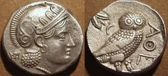 """This coin, minted in Bactria, imitates the most widely circulated coin of antiquity: the Athenian """"owl,"""" which was copied in many different countries."""