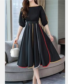 Solid Sleeves A-line Knee Length Casual/Elegant Dresses Black Dress With Sleeves, Dresses With Sleeves, Dress Black, Knee Length Dresses, Pretty Dresses, Beautiful Dresses, Short Elegant Dresses, Best Casual Dresses, Cute Dress Outfits