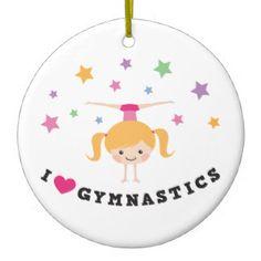 Amo al chica del dibujo animado de la gimnasia que ornatos