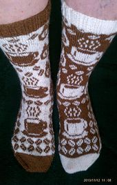 Ravelry Ravelry: Gimme Coffee pattern by Karin Aida - would love to knit these for a coffee lover :-) - Crochet Socks, Knitted Slippers, Wool Socks, Knitting Socks, Hand Knitting, Knitted Hats, Knit Crochet, Knitting Patterns Free, Knit Patterns