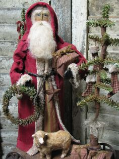 Primitive~German Style Santa~Antique look~doll~ Pull Toy~Sheep~ TDIPT Primitive Country Christmas, Primitive Santa, Primitive Christmas, Rustic Christmas, Vintage Christmas, Vintage Santa Claus, Vintage Santas, Christmas Crafts, Christmas Goodies