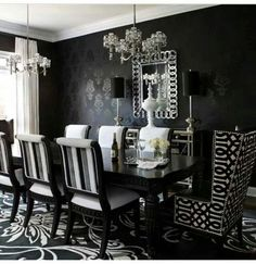 Architecture, Victorian Gothic Home Interior Design Black And White Dining Room Wallpaper: 9 Method to Reach a Victorian Gothic Inspired Home design Gold Dining Room, Dining Room Victorian, Luxury Dining Room, Black And White Dining Room, Dining Room Inspiration, Contemporary Family Rooms, Black Dining Room, Dining Room Wallpaper, Modern Dining Room