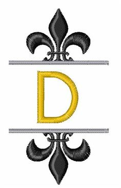Fleur De Lis Font D embroidery design
