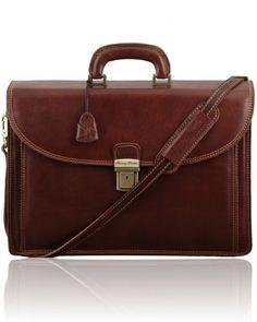 TAORMINA TL141205 Exclusive leather laptop case 3 compartments - Cartella in pelle portanotebook 3 scomparti