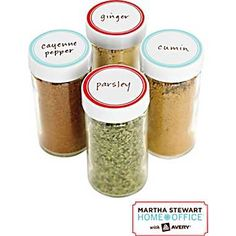 Martha Stewart Home Office™ with Avery™ Kitchen Labels,  Blue and Red Border, Round - spice organization