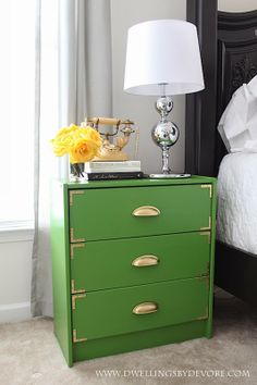 green campaign Dwellings By DeVore: Green Campaign Inspired IKEA Rast Hack Ikea Rast Dresser, Ikea Drawers, Dresser As Nightstand, Malm Bed, Side Table Makeover, Green Dresser, Furniture Makeover, Furniture Projects, Diy Furniture