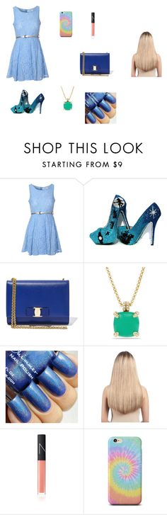 """""""Cute night"""" by gymnast1020rocky ❤ liked on Polyvore featuring Glamorous, Salvatore Ferragamo, David Yurman, Extension Professional and NARS Cosmetics"""