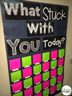 I absolutely love these post-it boards! What a great way for students to reflect on the day and share what they've learned with each other. Via 4 different teacher blogs.