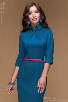 Dress case Navy blue MIDI length with a faux tie – Sainal Elegant Midi Dresses, Pretty Dresses, Blue Dresses, Casual Dresses, Dresses For Work, Dress Work, Midi Length Skirts, Mint Dress, Turquoise Dress