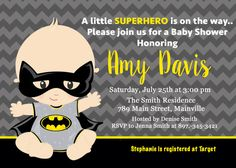 Batman Baby Shower Invitation Baby Invitation by PrettyPaperPixels