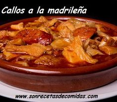 callos a la madrileña Spanish Food, Spanish Recipes, Comida Latina, Pinoy, Stevia, Thai Red Curry, Chili, Pork, Food And Drink