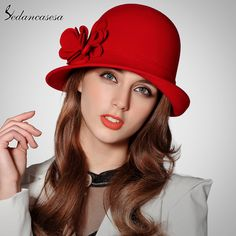 Winter women hat Christmas Gift Keep warm fashion wool felt hat youth wool cloche hat with handmade flower Like if you remember #shop #beauty #Woman's fashion #Products #Hat