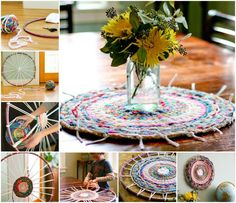 Woven Finger Knitting Hula Hoop Rug