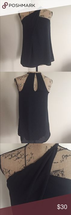 ♥️ NWT Express twist halter top ♥️ Super chic dress tank from Express has a spaghetti strap on one side and a twisted strap crossing to create a halter style. Back has a hook/eye close and a cutout for style. Fully lined. Size XS. 100% polyester. Express Tops Camisoles