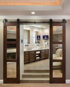 DIY barn door can be your best option when considering cheap materials for setting up a sliding barn door. DIY barn door requires a DIY barn door hardware and a The Doors, Sliding Doors, Entry Doors, Wood Doors, Patio Doors, Front Entry, Front Porch, Dressing Design, Double Barn Doors