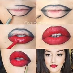 Bold red lipstick looks for brave girls Lipstick r .- Bold red lipstick looks for brave girls Bold red lipstick looks for brave girls Red Lipstick Looks, Red Lipstick Makeup, Perfect Lipstick, Contour Makeup, Red Lipsticks, Eye Makeup, Girls Lipstick, Lip Contouring, Hair Makeup