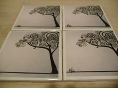 Tree of life decorative coasters 4x4 ceramic tiles by KellyD9165, $20.00
