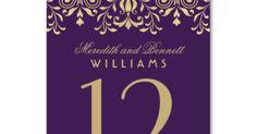 Wedding Table Number | Purple Gold Vintage Glamour | Wedding Table numbers | Pinterest | Glamour Vintage, Oro Viola e Numeri Di Tabellone Di Nozze