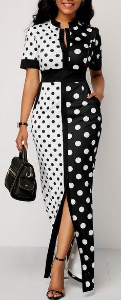 Polka Dot Print Front Slit High Waist Dress.#Rosewe#dress#womensfashion