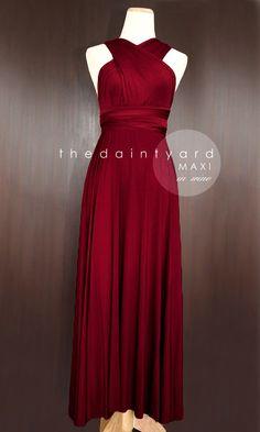 MAXI Wine Red Bridesmaid Dress Prom Dress Wedding Dress Infinity Dress Convertible Dress Wrap Dress Multiway Dress Maid of Honor Dress Red Bridesmaids, Burgundy Bridesmaid Dresses, Burgundy Dress, Prom Dresses, Lace Dresses, Short Dresses, Wedding Dresses, Dress Prom, Dress Long