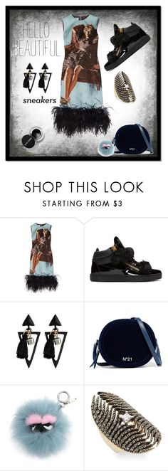 """Sneakers & Dresses"" by freida-adams ❤ liked on Polyvore featuring Prada, Giuseppe Zanotti, N°21, Fendi and mizuki"