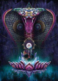 Psychedelic Art, Art Visionnaire, Year Of The Snake, Psy Art, Visionary Art, Gods And Goddesses, Fractal Art, Sacred Geometry, Spirit Animal