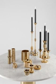 Tom Dixon. Collection en laiton. Brass collection.