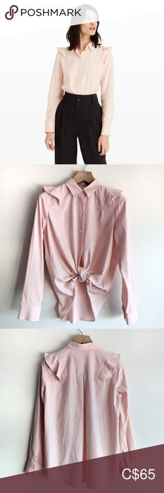 NWT Club Monaco Evira Shirt Desert Rose New with tags attached Club Monaco Evira shirt in Desert Rose.  The classic button-down is reimagined with a delicate shoulder ruffle and a luxuriously soft and warm double-faced cotton.   Features: -Cotton  -Relaxed fit  -Point collar  -button-front -single-button cuffs -ruffle detail at the shoulder -center inverted pleat at back Club Monaco Tops Button Down Shirts Desert Rose, Plus Fashion, Fashion Tips, Fashion Trends, Club Monaco, Point Collar, Colorful Shirts, Cuffs, Bell Sleeve Top