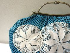 Metal Frame Purse-Handbag,Turquoise-Black Dots and Vintage Lace.  renklitasarimlar  $62