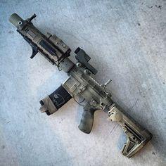 "Blacksheepwarrior.com 10.5"" SBR using San Tan Tactical Recievers, Black Sheep Warrior hand guard. B5 Systems Grip Stop and FerFrans Muzzle Device."