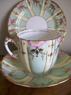 ANTIQUE HAND PAINTED CHINA TRIO TEA CUP SAUCER PLATE WEDDING GARDEN PARTY