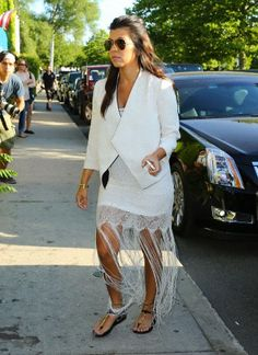 Kourtney Kardashian leaving a restaurant in the Hamptons