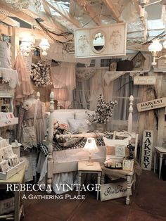 Beautiful booth display : A Gathering Place: ~A SWEET VINTAGE WHITE BED~