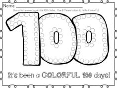 100th Day of School Celebration Math and Literacy pack with centers, art, writing and math