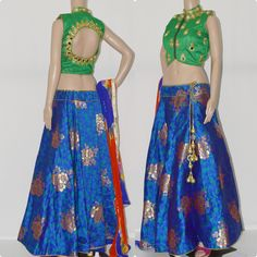 CC1232. Silk brocade skirt with designer blouse and dupatta