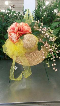 Spring straw hat wreath