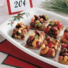 Jewel Nut Bars Recipe -These colorful bars, with the eye-catching appeal of candied cherries and the crunchy goodness of mixed nuts, are certain to become a holiday favorite year after year. I get lots of compliments on the rich, chewy crust and the combination of sweet and salty flavors.