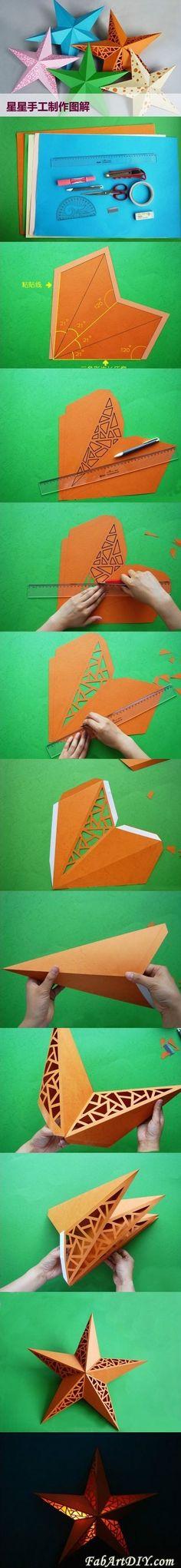 DIY Paper Star Lamp shade | www.FabArtDIY.com LIKE Us on Facebook ==> https://www.facebook.com/FabArtDIY