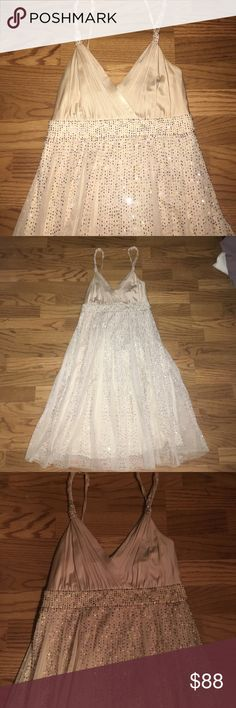 Champagne colored beaded dress Gorgeous cream gold beaded dress BCBGMaxAzria Dresses