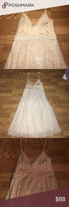 ❤️FLASH SALE❤️Champagne colored beaded dress Gorgeous cream gold beaded dress BCBGMaxAzria Dresses